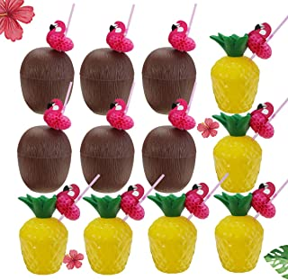 G.CORE 12PCS Leak Prevention Pineapple Drink Cups Hawaiian Luau Plastic Coconut Cups with Flamingo Straws, Hawaii Party Cups Beach Events Children's Party