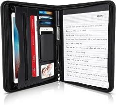 Arpan formato A4 Cartelletta in pelle con chiusura zip per convegni con calcolatrice e blocco note colore: rosa