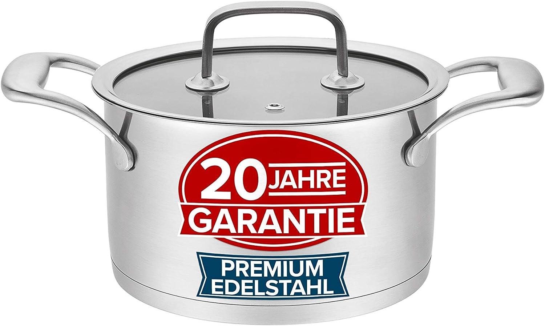 Pure Living Olla de 20 cm de acero inoxidable premium - Tapa de cristal robusta con purgador, para todos los tipos de cocina, escala métrica, apta para lavavajillas, moderna olla de inducción de 20 cm
