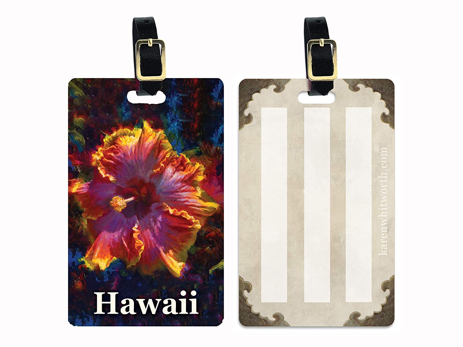 Hawaii Luggage Selling Manufacturer OFFicial shop rankings Tags with Colorful Suitcase Na on Flower Hibiscus