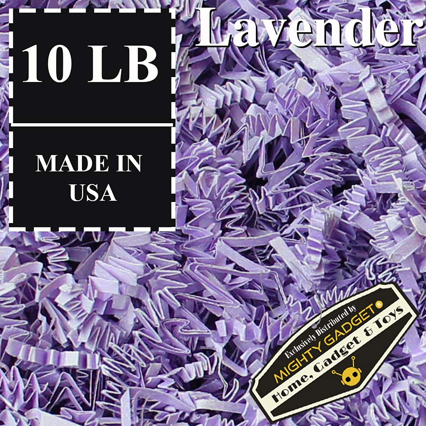 Mighty Gadget Brand 10 LB Value Pack Crinkle Cut Paper Shred Filler for Packing and Filling Gift Baskets, Gift Boxes Natural Craft Bedding in Lavender (10 LB)