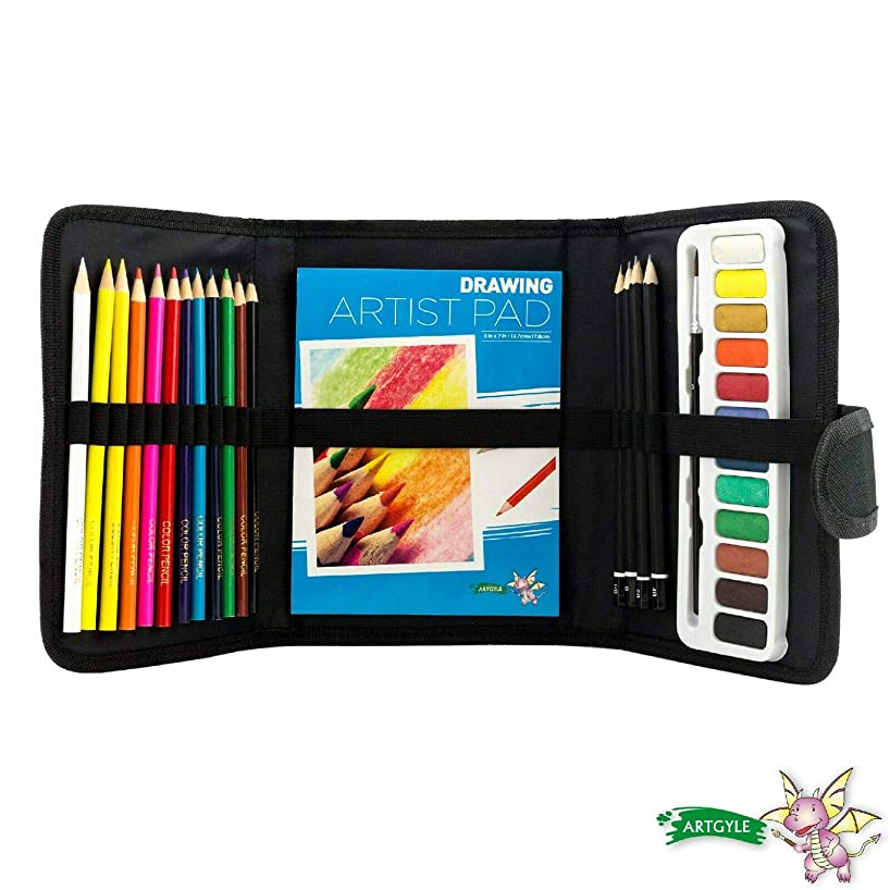 ARTGYLE 30 Piece 3 Fold Nylon Bag Art Set with Watercolor Cakes, Colored Pencils, Sketching Pencils, Natural Hair Brush, Drawing pad