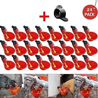 ℳodern Garden Chicken Drinker Cup Drinker Cups Feed Automatic Bird Coop Poultry Chicken Fowl Drinker Water (24Pcs)