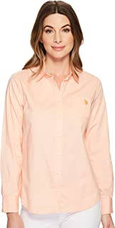 Women's Solid Single Pocket Long Sleeve Shirt