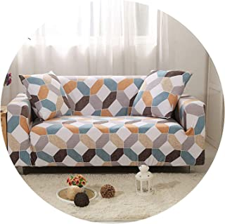 Geometric Spandex Sofa Cover Stretch Slipcover Elastic Sectional Couch Cover for Living Room canape Salon Sofa cubierta Protector,Color 8,4-Seater 235-300cm