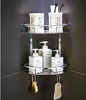 U/A Etagère de Douche d'Angle, Rangement Douche Aluminium Murale Adhésive Serviteur de Douche Organiseur pour Shampoing(Tr...