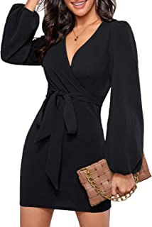 SheIn Women's Surplice Wrap Long Sleeve Pearls Beaded Solid Mini Pencil Dress wi