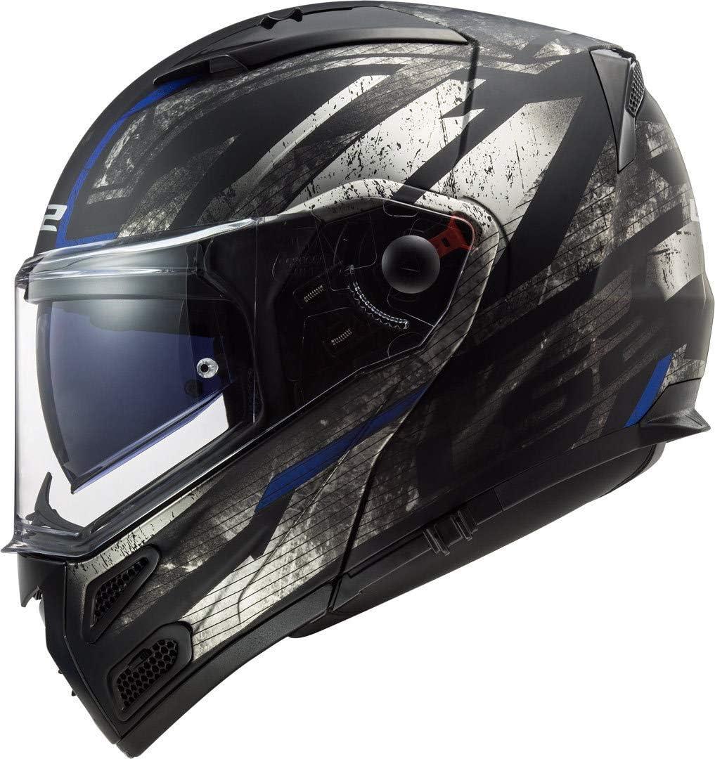 Schwarz//Titanium XS LS2 Motorradhelm FF324 METRO EVO BUZZ MATT Schwarz TITANIUM Blau P//J