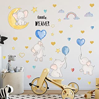 Watercolor Balloon Flying Animals Wall Decals, Lovely Elephant Wall Stickers, Colorful Love Heart Star Cartoon Wall Sticke...