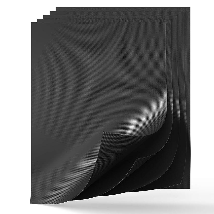変な出くわす同性愛者グリルマット、16×12インチ、厚さ0.2mm FDA承認バーベキューマット、100%焦げ付き防止グリルパッド、手入れが簡単で再利用可能な頑丈なグリル紙 (5個セット、ブラック)