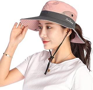 Women Sun Hat Wide Brim Bucket Mesh Boonie Cap Outdoor Fishing Hats UV Protection