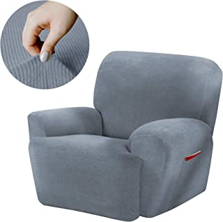 Maytex Collin Stretch 4 Piece Recliner Chair Furniture Cover Slipcover, Blue