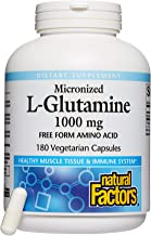 Natural Factors, Micronized L-Glutamine 1000 mg, Supports Healthy Muscle Tissue and Immune System Function, 180 capsules (...