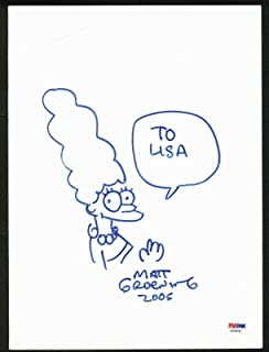 The Simpsons Matt Groening 2005 Signed 9x12.25 Marge Simpson Sketch #AD59638 - PSA/DNA Certified