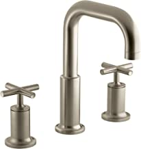 KOHLER K-T14428-3-BV Purist Deck-Mount High-Flow Bath Faucet Trim with Cross Handles, Valve Not Included, Vibrant Brushed Bronze