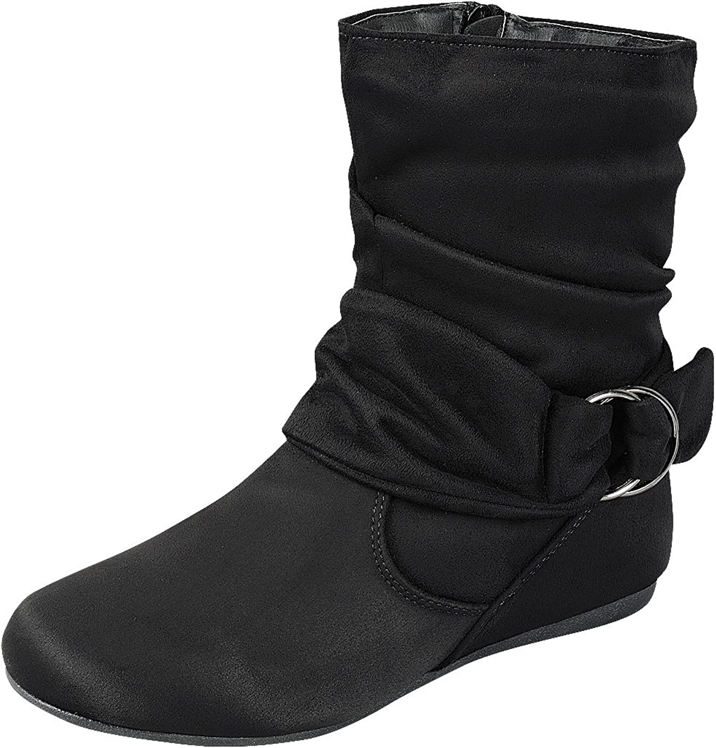 Cambridge Select Women's Slouch Closed Round Toe Flat Heel Mid-Calf Boot