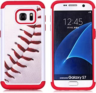 Sunshine - Tech Galaxy S7 Case, S7 Case, Baseball Sports Pattern Shock-Absorption Hard PC and Inner Silicone Hybrid Dual L...