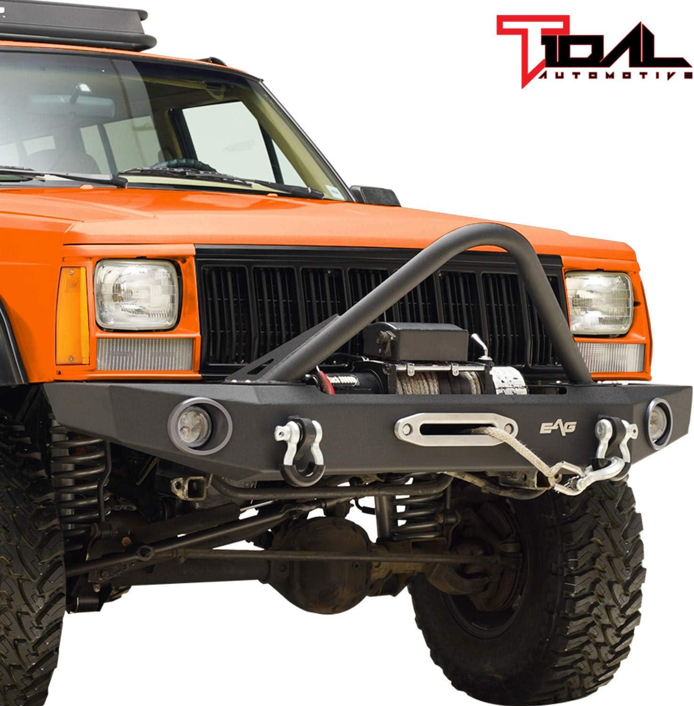 Tidal 訳あり商品 Stinger Front Bumper with 永遠の定番モデル Winch for Fit 84-01 Cherok Plate