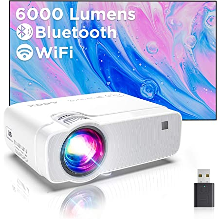 7500 Lumens WiMiUS R/étroprojecteur 1080P Supporte 4K R/églage 4D Fonction Zoom Projecteur WiFi Portable Home Cin/éma Pour PPT,IOS,Android,etc-Sacoche Inclut Vid/éoprojecteur WiFi Bluetooth Full HD 1080P