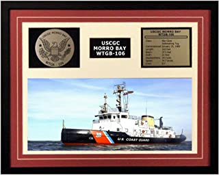 Navy Emporium USCGC Morro Bay WTGB-106 Framed Coast Guard Ship Display Burgundy