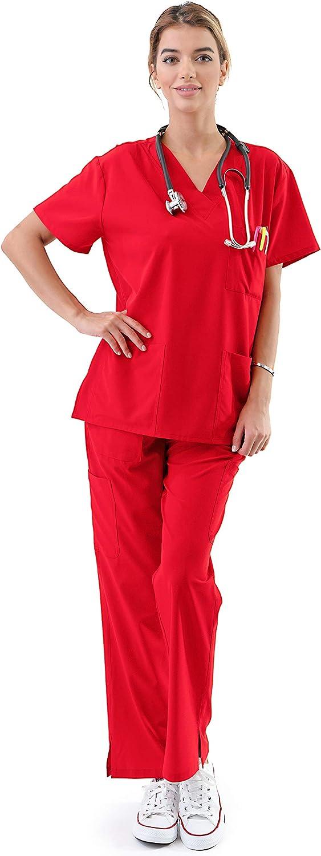 Women's Medical Uniform Scrubs Set – 4 Way Stretch 8 Pocket V-Neck Top with Drawstring Pants Nursing Dental, Red 5X-Plus