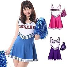 【サイズ選べる】monoii チアガール コスプレ ハロウィン 衣装 チアリーダー コスチューム 389 (Lサイズ、パープル)