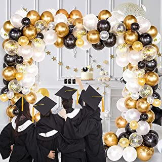 مجموعة قوس بالونات ١٢٣ قطعة باللون الأبيض والذهبي والأسود تحتوي على بالونات الكونفيتي مع الملحقات الخاصة بعمل قوس دون الحا...