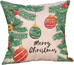 Unionm 66# Pillow Covers Christmas Decor Throw Pillow Case Flax Muti-Colored Tree Merry Christmas Theme Square 45 x 45 cm 18 x 18 inch Cushion Cover for Home Sofa Car 1 Pack- 7