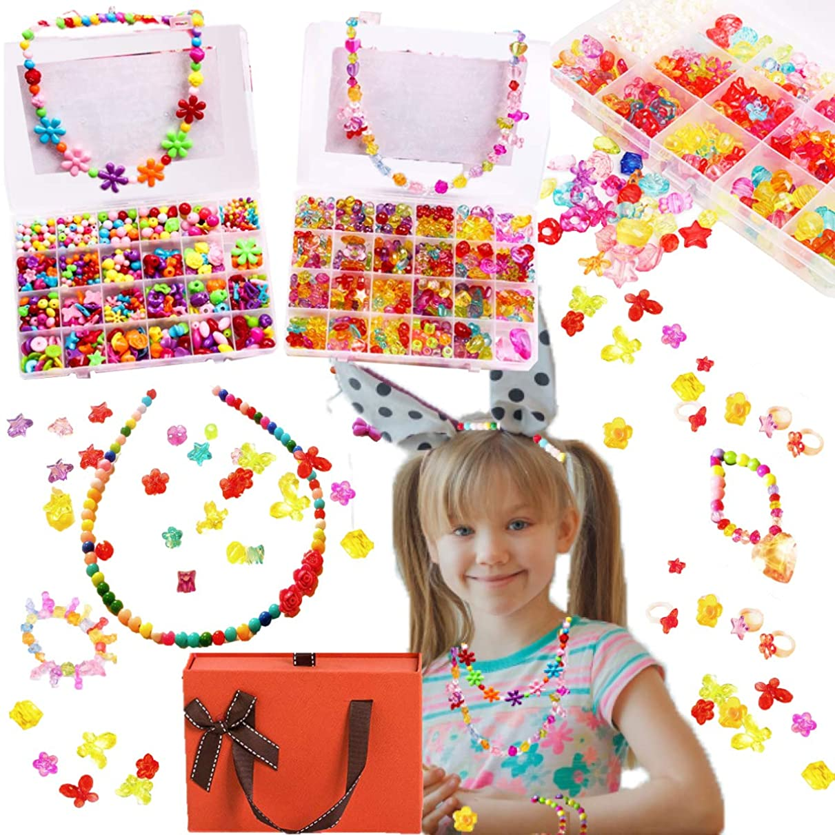 奨学金汚いコンクリート女の子おもちゃ 5歳 6歳 7歳 アクセサリー 作る 小学生 女の子 プレゼント アクセサリー 手作セット <LOVE ジュエリー ビーズキット>