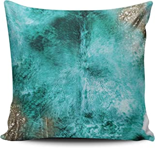 WEINIYA Home Decoration Throw Pillow Case Aqua Mint 18X18 Inch Turquoise Brown and White Exotic Cowhide Print Square Custom Pillowcase Cushion Cover Double Sided Printed (Set of 1)
