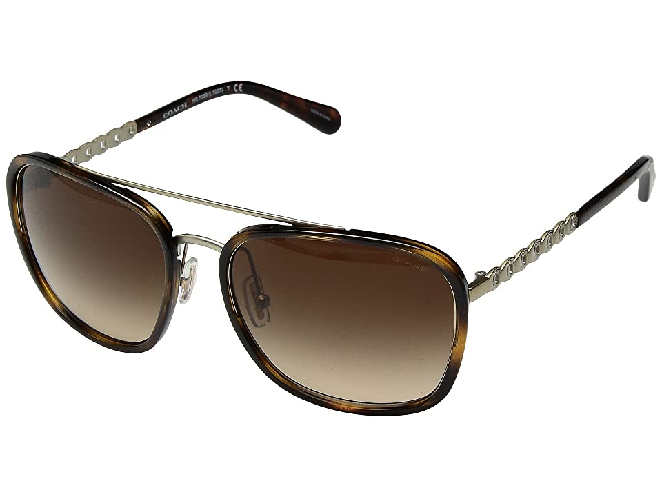 COACH 0HC7089 (Dark Tortoise/Dark Brown Gradient) Fashion Sunglasses