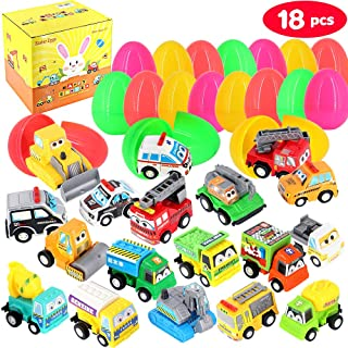 Dynoson 18 PCS Filled Easter Eggs with Toy Cars,3.6″Colorful Prefilled Pull Back Construction Vehicles Easter Eggs,for Easter Basket Stuffer,Easter Eggs Hunt.