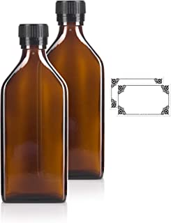 250 ml / 8 oz Amber Glass Pharmacy Liquid Medicine Flask Bottle with Black Ribbed Tamper Evident Seal and Pouring Insert (2 Pack) + Labels