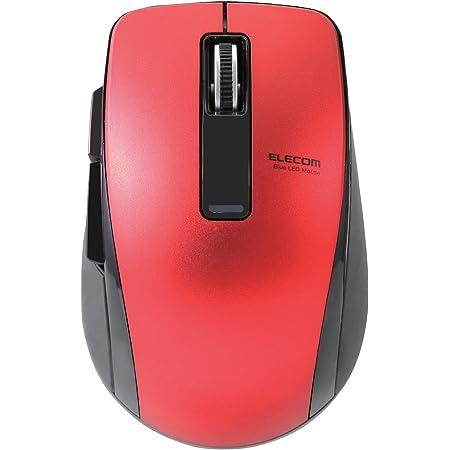エレコム マウス Bluetooth (iOS対応) Mサイズ 5ボタン (戻る・進むボタン搭載) BlueLED 省電力(電池寿命:約1.3年) レッド M-BT20BBRD