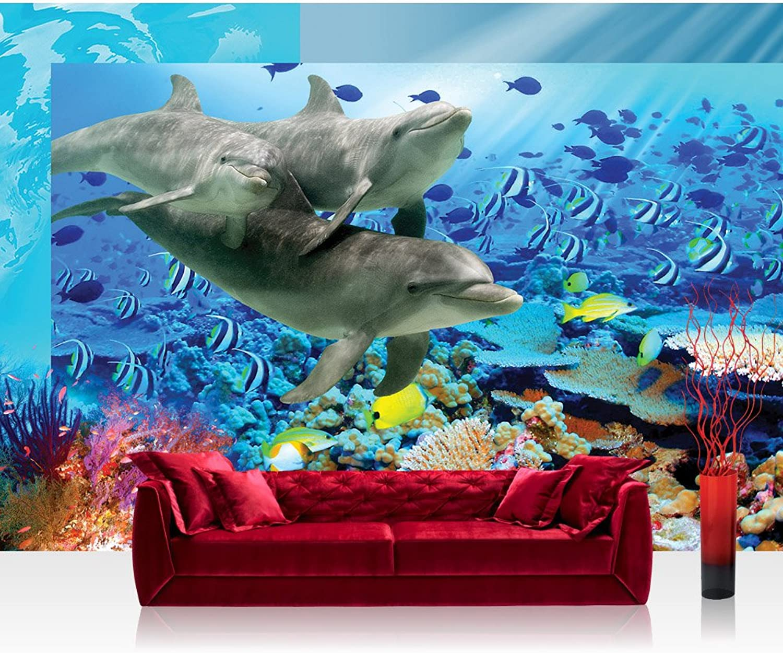 Vlies Fototapete 312x219cm PREMIUM PREMIUM PREMIUM PLUS Wand Foto Tapete Wand Bild Vliestapete - Meer Tapete Aqua unter Wasser Delfine Fische Natur Wasserpflanzen bunt - no. 2092 B01MG7TOWD 4c98b6