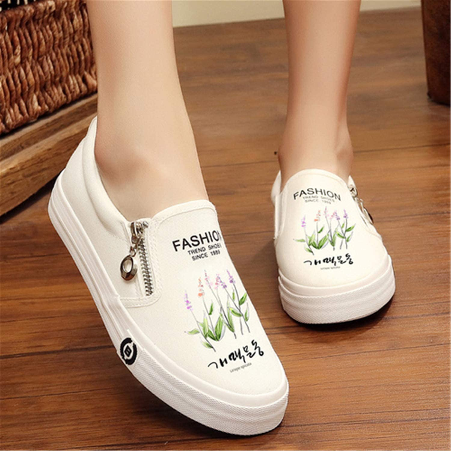 HAHUTG& Slip on Women's Platform shoes Summer 2019 Thick Heel Loafers Floral Canvas shoes Women Espadrilles White Black White Small Floral 4