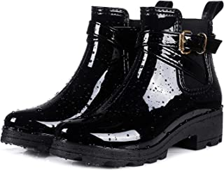 Women's Short Rain Boots Glossy Waterproof Platform Slip On Ankle Boots Elastic Chelsea Booties