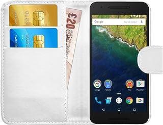 G-Shield Funda para Huawei Google Nexus 6P, Carcasa de Cuero con Ranuras para Tarjetas, Blanco