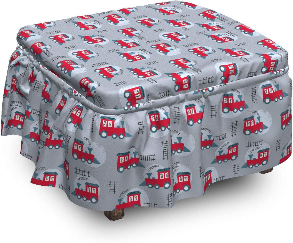 OFFicial Bombing new work store Lunarable Train Ottoman Cover Toy Piece 2 Like Railroad Tracks