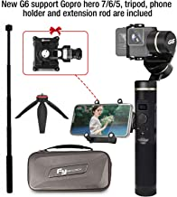 Feiyu G6 Upgraded Gimbal for Gopro Hero 7/6/5/4/3,SJcam, Yi 4K or Similar Size for Action Camera,Including Tripod,Phone Holder and Extension Rod