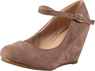 31dc721946d Bella Marie Denise-1 Women s round toe wedge heel mary jane squeaky strap  suede shoes