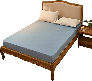 ボックスシーツ クイーン 綿100% ダブルガーゼ 二重ガーゼ やわらか 160×200×30cm ベッドシーツ マットレスカバー 敷き布団カバー ブルー
