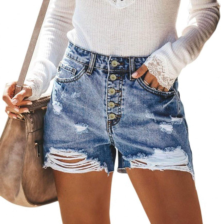 MASZONE Jean Shorts for Women, Distressed Ripped Denim Shorts Stretchy Frayed Raw Tassel Hem High Waist Hot Short Jeans