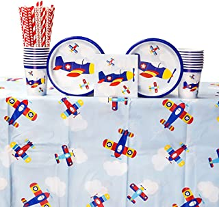 Lil' Flyer Airplane 1st Birthday Party Supply Pack for 16 Guests: Straws, Dessert Plates, Beverage Napkins, Table Cover, and Cups