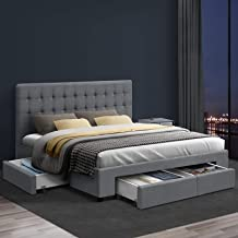 Artiss Queen Bed Frame Fabric with Storage Drawers - Grey
