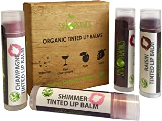 Organic Tinted Lip Balm by Sky Organics - 4 Pack Assorted Colors - With Beeswax, Coconut Oil, Cocoa Butter, Vitamin E- Min...