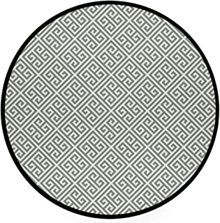 YOLIKA Home Decor Light Round Area Rug, Geometrical Composition with Traditional Labyrinth Sage Green and White ,Super Soft Circle Carpet (5'Diameter)