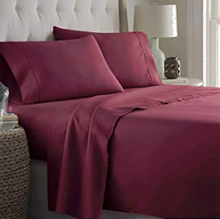 Marina Decoration 600 Thread Count Ultra Soft Deep Pocket Hotel Standard Solid Long Staple Cotton 4 Pieces Sheet Set with ...