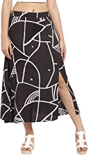 Martini Women Rayon Front Slit Summer Skirt for Women (Black & White, Size : 28 – 34)