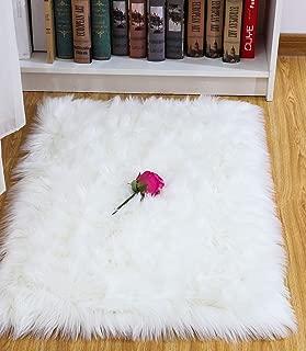 Junovo Luxury Plush Fuax Sheepskin Area Rug Fluffy Fuax Fur Shag Carpet, 2ft x 3ft White